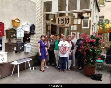 BLOG AG Treffen kick off: 17.8.2013 v.l.n.r.: Katja Marczinske, Veronika Licher, Jana Stahl, Dörte Kanis, Valeska Henze, Frauke Ehlers, Bettina Schäfer, Marianne Hahn, Doris Hermanns.